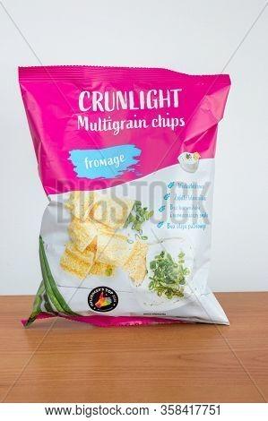Pruszcz Gdanski, Poland - March 29, 2020: Crunlight Multigrain Chips Fromage Flavored.