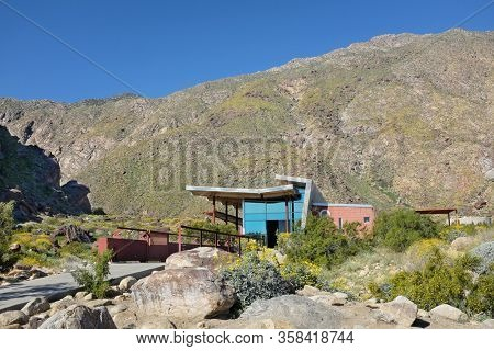 PALM SPRINGS, CALIFORNIA - MARCH 24, 2017: The Tahquitz Canyon Visitor Center. The canyon is a culturally sensitive area of the Agua Caliente Indian Reservation.