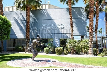 PALM SPRINGS, CALIFORNIA - MARCH 24, 2017: Paratrooper Statue and Memorial Walk at the Palm Springs Air Museum, next to the Hixon Visitor Center.