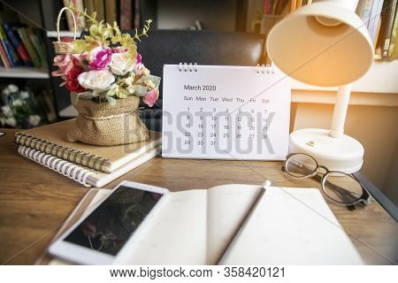 Desk For Student Work At Home Concept.diary And Book On School Table For Student,study For Exam.wood