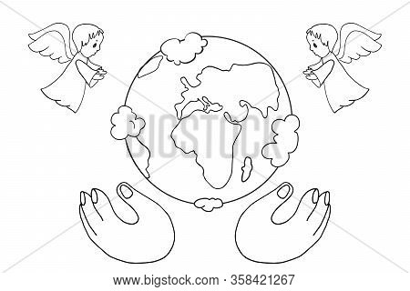 The Christian Biblical Story Of The Birth Of The Earth. Angels Announce The Birth Of The Earth