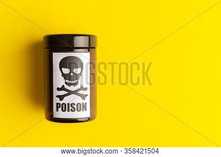 Concept Of Poison, Toxic Substances, Drug Overdose, Lethal Dose, Glass Jar With Skull And Crossbones
