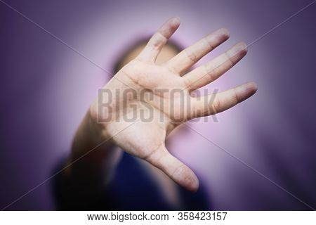 Stop Domestic Violence And Abuse Concept. Woman Saying Stop With Hands. Handgesture - Stop Violence