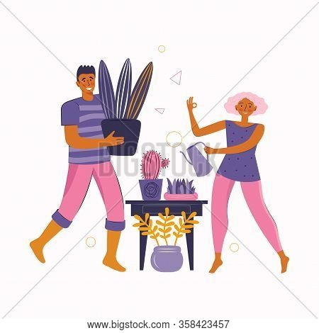 Man And A Woman Spend Time Together At Home. Young Couple Take Care Of Home Plants Together. Stay At