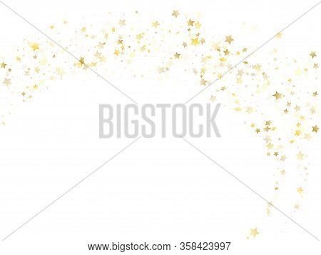 Magic Gold Sparkle Texture Vector Star Background. Glossy Gold Falling Magic Stars On White Backgrou