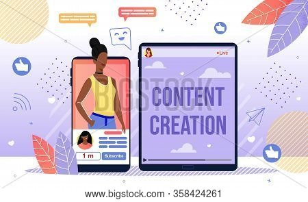 Popular Content Author, Successful Blogger Career, Blog Creation And Online Promotion Concept. Afric