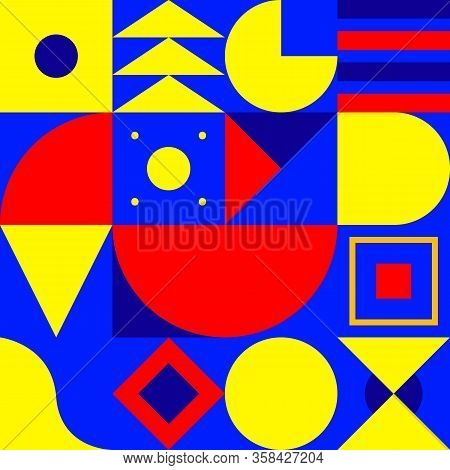 Geometric Pattern, Bauhaus Background, Seamless Modern Pattern With Shapes, Circle, Triangle And Squ