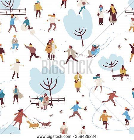 Cartoon People Enjoy Outdoors Activity At Winter Park Seamless Pattern Vector Flat Illustration. Man