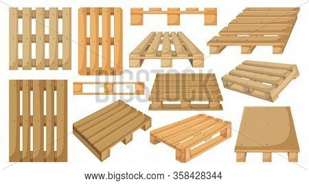 Wooden Pallet Vector Cartoon Set Icon. Vector Illustration Warehouse Platform On White Background. I