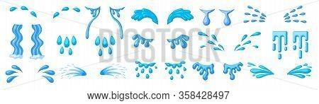 Tear Cartoon Vector Set Icon. Isolated Cartoon Set Icon Droplet Of Cry. Vector Illustration Tear On