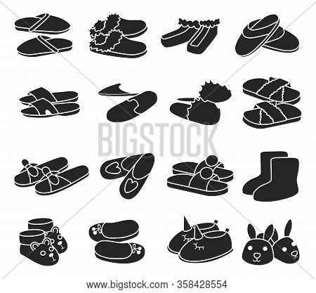 House Slipper Black Vector Set Icon. Isolated Black Icon Slipper And Shoes.vector Illustration Summe
