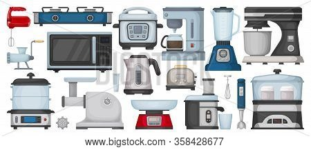 Kitchen Equipment Cartoon Vector Set Icon. Isolated Cartoon Set Icon Household Appliance. Vector Ill