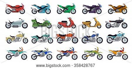 Motorcycle Vector Cartoon Set Icon. Vector Illustration Motorbike On White Background. Isolated Cart