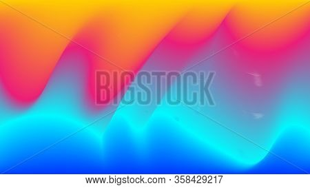 Funky Neon Blend Vector Background. Trendy Colorful Vibrant Horizontal Banner. Liquid Neon Bright Tr