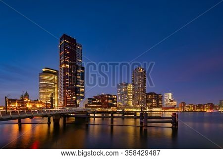 Rotterdam - 13 February 2019: Rotterdam, The Netherlands. Downtown Skyline, Several Modern Tall Buil