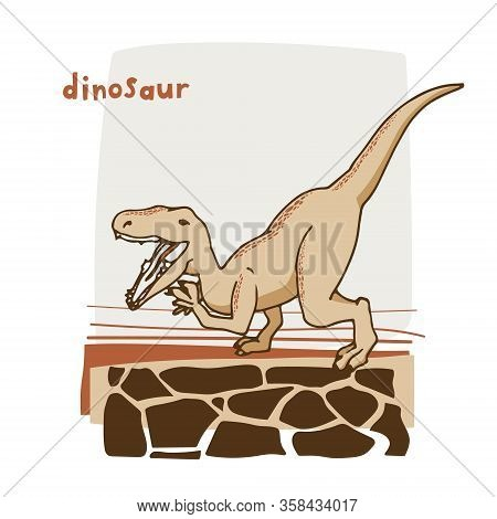 Illustration For Cards, Children's Parties, Posters, Banners. Cartoon Tyrannosaurus Dinosaur Drawn C