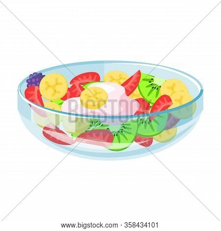 Bowl Of Fruit Salad Vector Icon.cartoon Vector Icon Isolated On White Background Bowl Of Fruit Salad