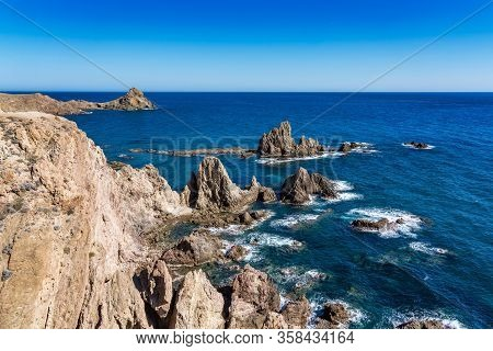 Rocky Coast Of Cabo De Gata Nijar Park, Almeria, Spain. Andalusias Largest Protected Area.