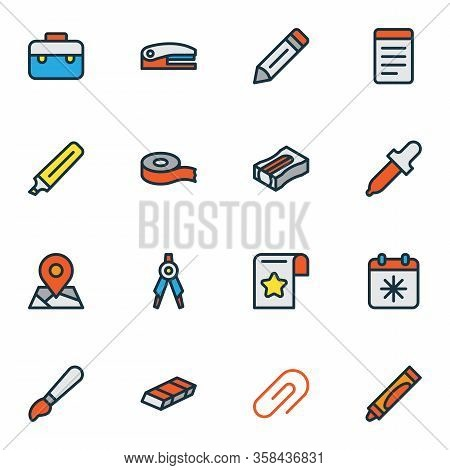 Stationary Icons Colored Line Set With Case, Brush, Scotch And Other Crayons Elements. Isolated Vect