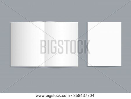 Mockup Bifold Brochure. White Paper Flyer With Shadow Isolated. Blank Card Menu. Magazine Cover With