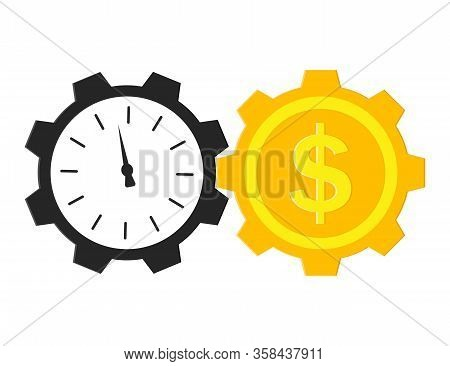 Time Is Money Concept. Clock And Dollar With Gears. Payment Work In Hour. Timer Of Financial Market.