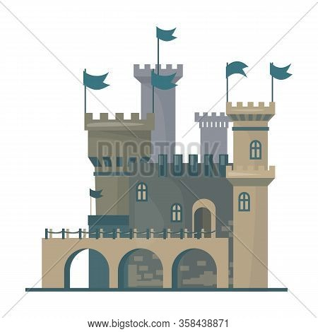 Medieval Castle Vector Icon.cartoon Vector Icon Isolated On White Background Medieval Castle.