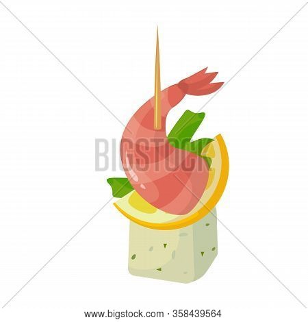 Canape Of Appetizer Vector Icon.cartoon Vector Icon Isolated On White Background Canape Of Appetizer