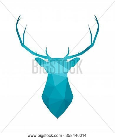 Vector Isolated Illustration. Silhouette Of Head Reindeer With Big Horns In Blue Color. Low Poly Sty