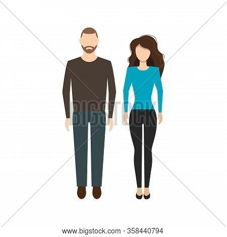 Beautiful Man And Woman In Full Height In Flat Style On White Background. Vector Symbol