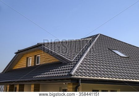 Interestingly Solved Roof Surface. Roof Made Of Metal Roof Tiles.