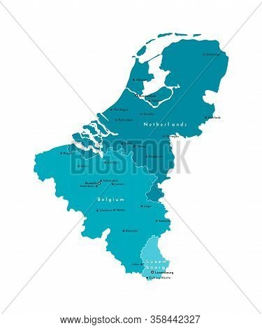 Vector Modern Isolated Illustration. Simplified Political Map Of States Of Benelux Union. Blue Shape