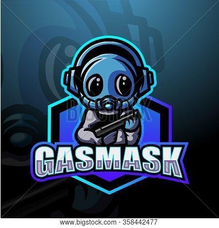Vector Illustration Of Gasmask Mascot Esport Logo Design