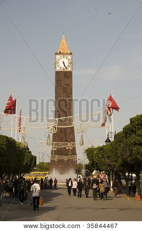 Editorial Clock Tower On Avenue Habib Bourguiba Tunis Tunisia