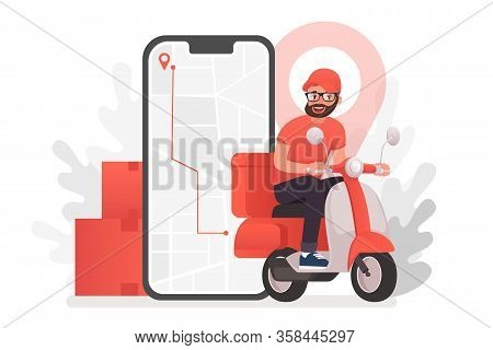 Scooter With Delivery Man Flat Vector Cartoon Character. Fast Courier. Restaurant Food Service, Mail