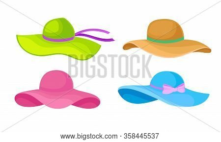 Summer Brimmed Female Hats With Ribbons Isolated On White Background Vector Set