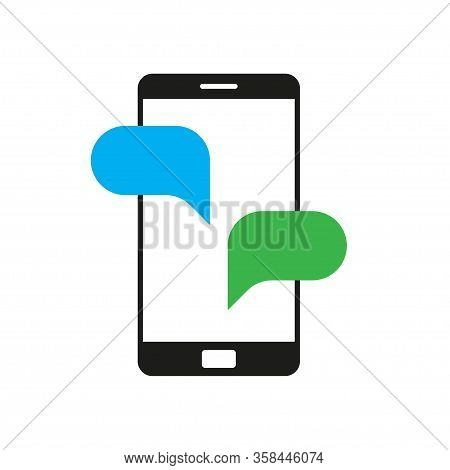 Phone Chat Vector Icon In Modern Style. Vector Isolated Illustration. Speech Bubble Or Sms Design. C