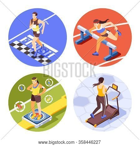 Jogging Running Training Sprinting 4 Round Isometric Compositions With Race Finish Hurdling Vr Fitne