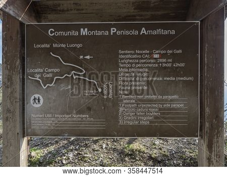 15 February 2018 Amalfi Coast, Italy: Monte Luongo Mountain Hiking Information Sign Seen Near Nocell