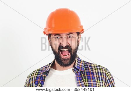 Industrial Worker. Hard Work. Portrait Of Screaming Bearded Builder. Worker In Protect Helmet. Profe
