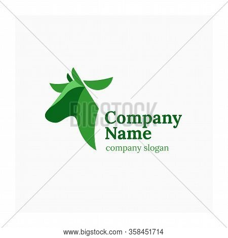 Livestock Logo With Cow. Symbol For Cattle Company. Agricultural Or Dairy Sign. Vector Logo For Farm