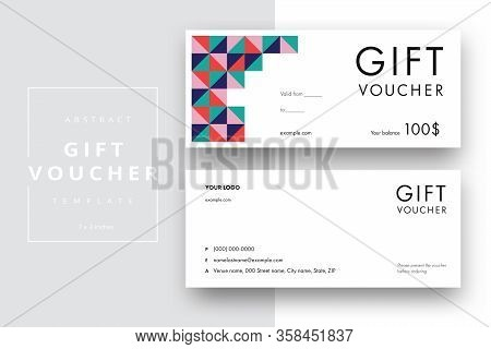 Abstract Gift Voucher Card Template. Modern Discount Coupon Or Certificate Layout With Geometric Sha