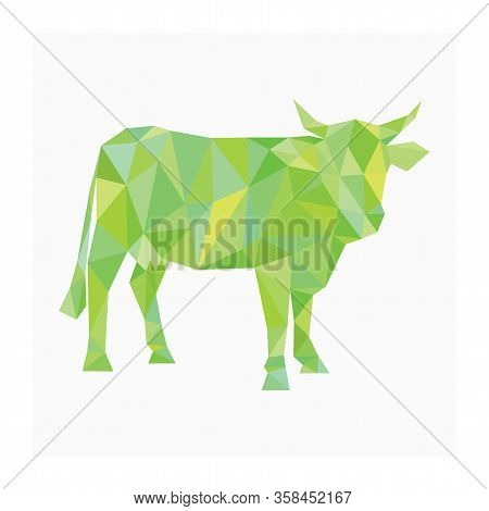 Cattle Logo. Polygonal Illustration Of Cow. Farm Animal Or Livestock Symbol. Icon For Dairy Company.