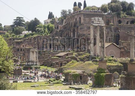 24 April 2018, Forum Romanum, Fori Romani, Ancient Site Of Antique City Of Rome, In Rome Near Palati