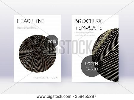 Trendy Cover Design Template Set. Gold Abstract Lines On Black Background. Flawless Cover Design. De