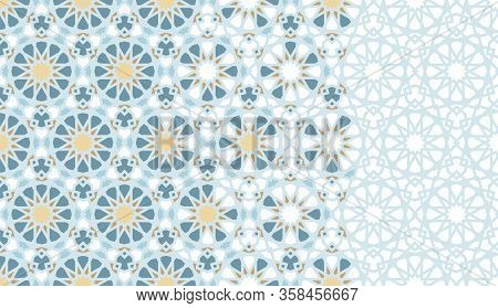 Arabesque Tile, Mosaic Repeating Vector Border. Geometric Halftone Pattern With Color Arabesque Disi
