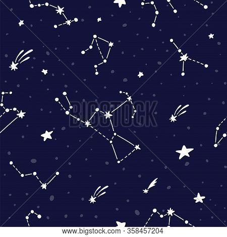 Cosmic Fabric For Kids. Bright Childish Tile. Constellations On Dark Night Sky. Cute Design For Kids
