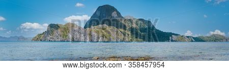 Panorama View Of Cadlao Island Located In El Nido Bay. Wonderful Unique Nature Of Palawan, Philippin