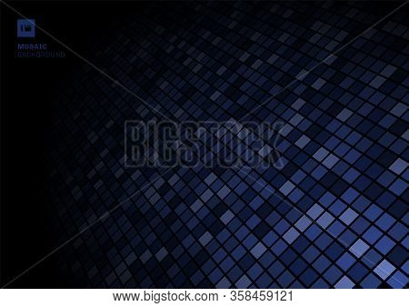 Blue Mosaic Pixel Pattern On Fade Out On Black Background Texture. Squares Shapes Repeating Random C