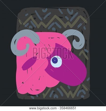 Aries. Funny Zodiac Sign. Colorful Vector Illustration Of Pink Sheep Face In Hand-drawn Sketch Style