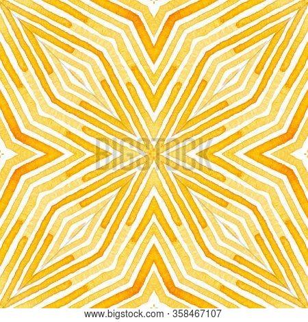 Orange Geometric Watercolor. Delicate Seamless Pattern. Hand Drawn Stripes. Brush Texture. Ecstatic